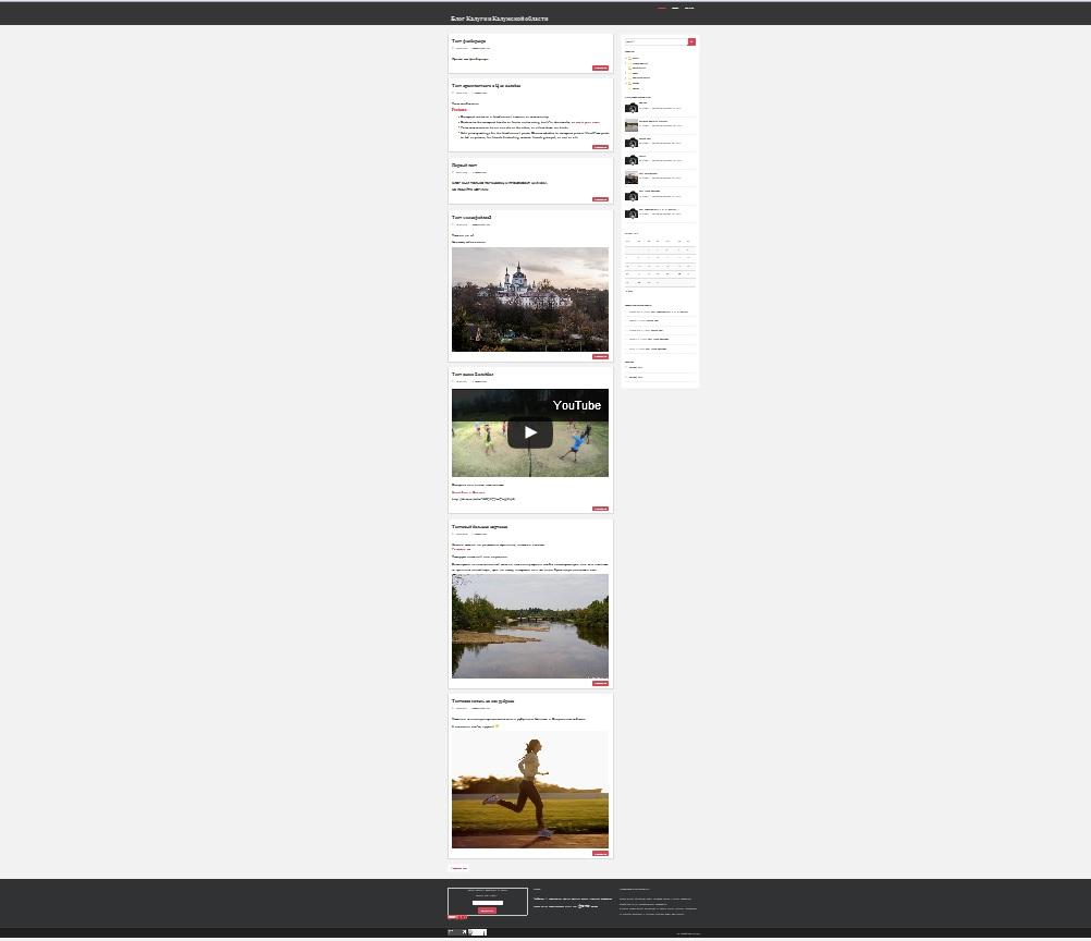 Сайт blogkaluga в момент запуска